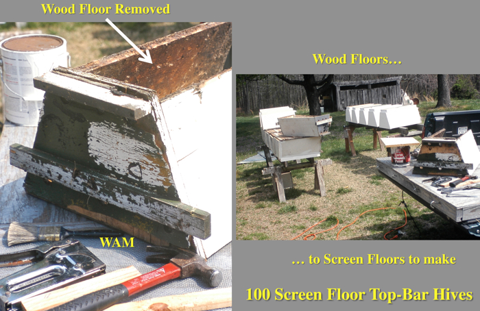removing wood floors from top bar hives